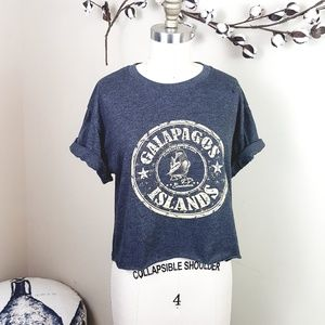 Tops - 5/$25 // Washed Blue Galapagos Islands Cropped Tee